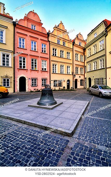 facades of townhouses and bell, which used to be in St John's Archcathedral, Kanonia Street, Kanonia square, Old Town - UNESCO World Heritage Site, Warsaw