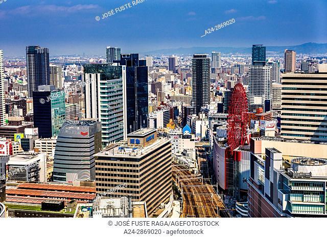 Japan, Kansai, Osaka City, Umeda area, skyline
