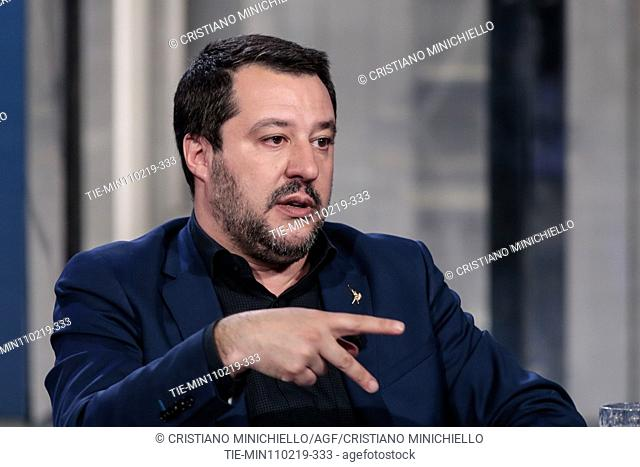 Italian Minister of Interior and Deputy Prime Minister Matteo Salvini attends at the tv show Porta a porta, Rome, ITALY-11-02-2019