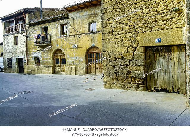 View of the town of Leza. Rioja Alavesa, Alava, Basque Country, Spain