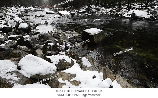 Merced River in winter, Yosemite Valley, Yosemite National Park, California USA