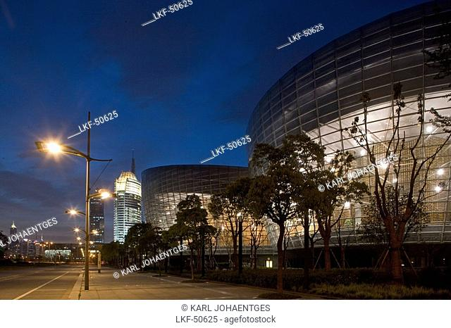Oriental Art Centre Shanghai, Pudong, Oriental Art Center in Pudong, architect Paul Andreu of Paris, events, architecture, glass facade, Skyline Pudong, art