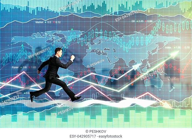 Side view of young running businessman on glowing forex background. Trade and fund management concept. Double exposure