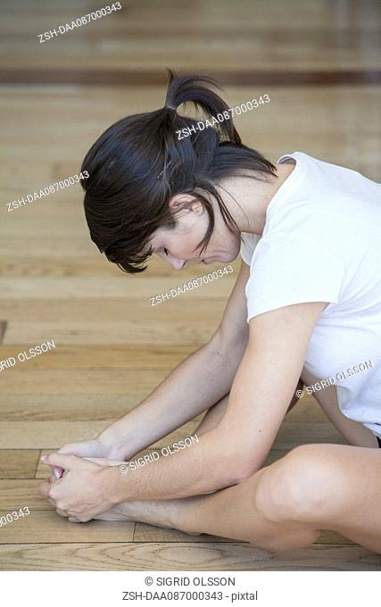 Woman doing stretches