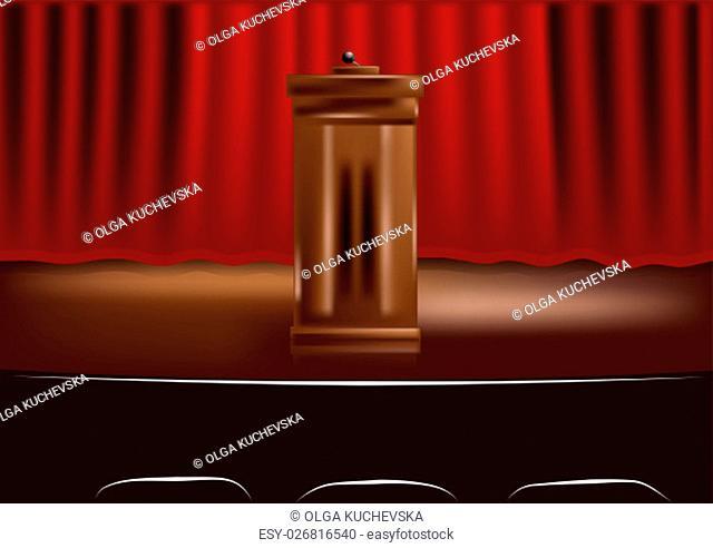 wooden podium tribune and red curtain