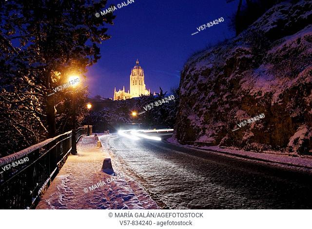 Night view of snow covered city. Segovia, Castilla Leon, Spain