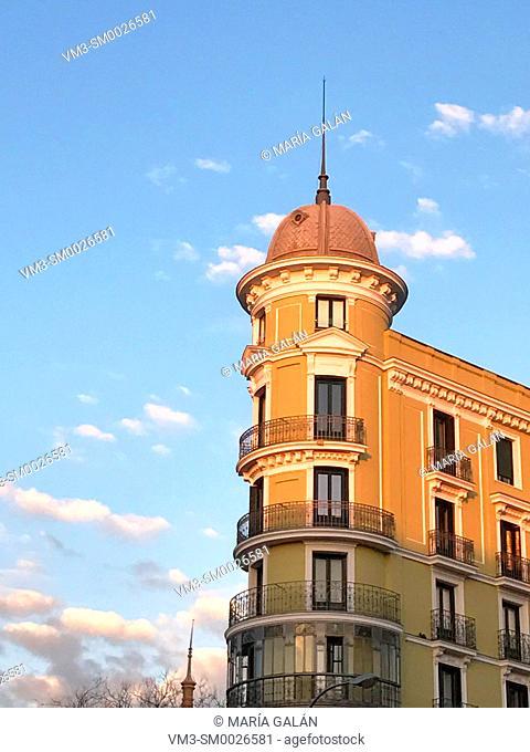 Facade of building. Alcala street, Madrid, Spain