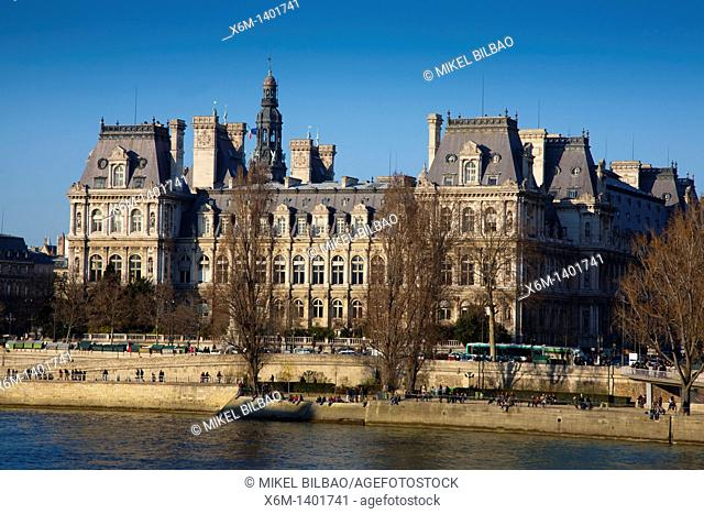Siene river and City Hall  Paris, France, Europe