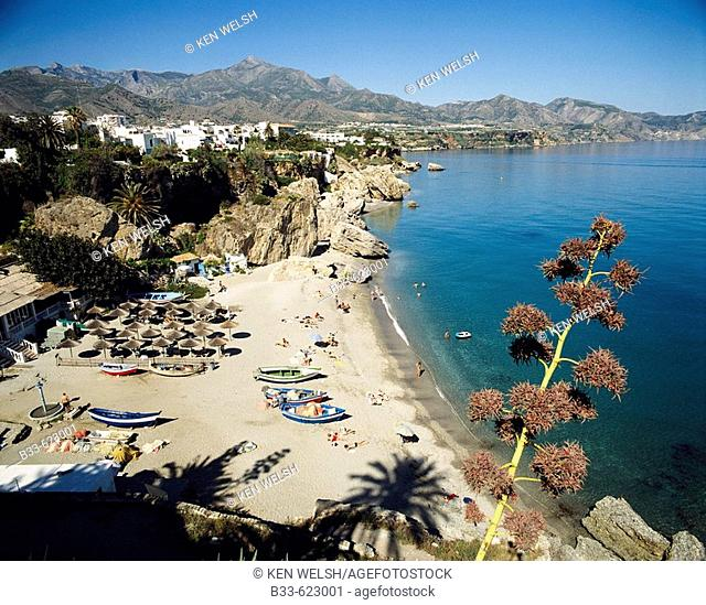 Calahonda beach as seen from the Balcon de Europa, Nerja. Malaga province, Costa del Sol, Andalucia, Spain