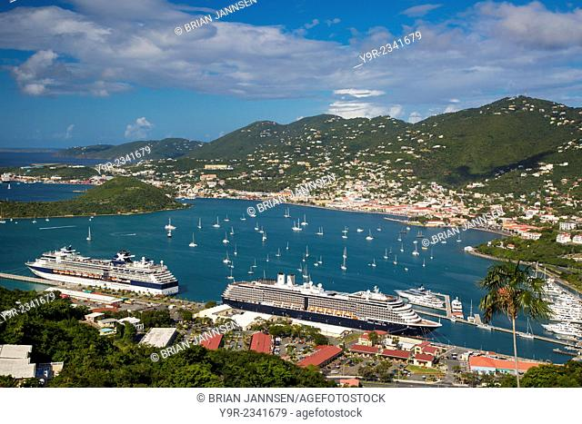 View of Charlotte Amalie Harbor from Paradise Point, St Thomas, US Virgin Islands