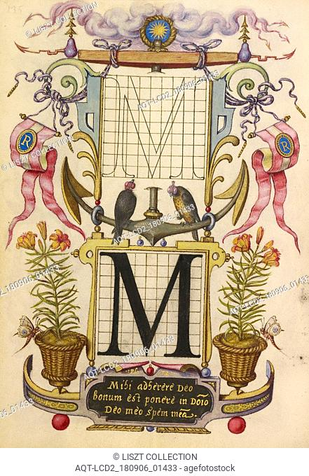 Guide for Constructing the Letter M; Joris Hoefnagel (Flemish , Hungarian, 1542 - 1600); Vienna, Austria; about 1591 - 1596; Watercolors, gold and silver paint