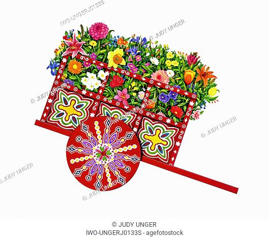 A Colorful Flower Cart