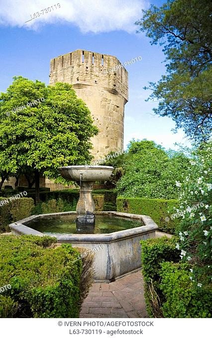 Tower and gardens in the Alcazar of the Christian Kings, Cordoba. Andalusia, Spain