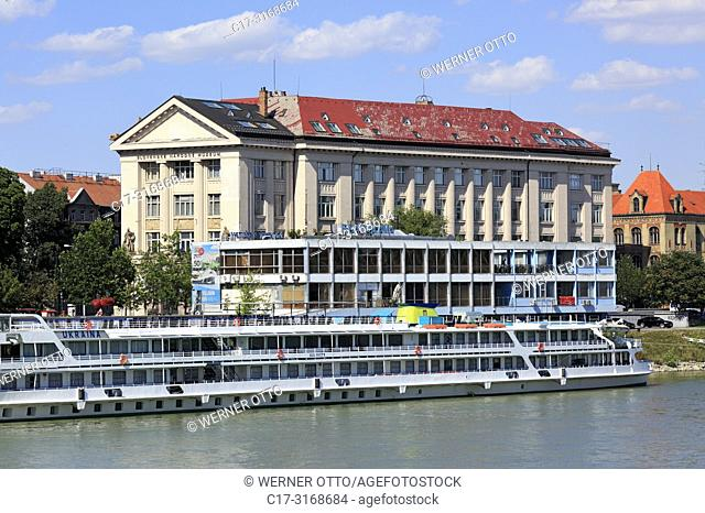 Bratislava, Slovak Republic, Slovakia, Bratislava, Capital City, Danube, Little Carpathians, Danube riverbank, Danube riverwalk, cruiser at a shipping pier