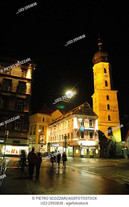 Austria, Graz, the city hall at night
