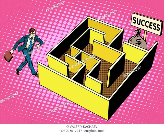 The labyrinth path to success business concept pop art retro style. Businessman go to financial profit. Optimism and challenges. Problem solving
