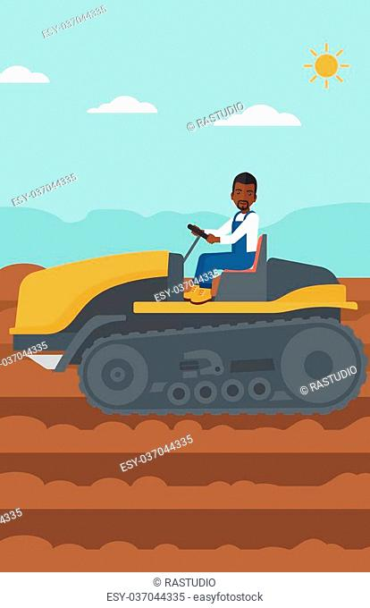 An african-american man driving a catepillar tractor on a background of plowed agricultural field vector flat design illustration. Vertical layout