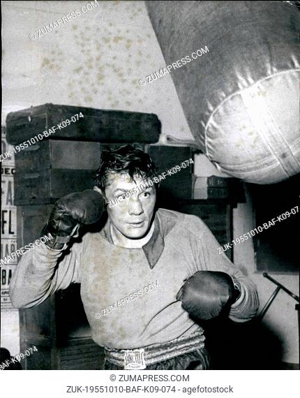 Oct. 10, 1955 - Before the Europe feather weight championship: French champ ray Famechon training, before his fight for the European feather weight title...