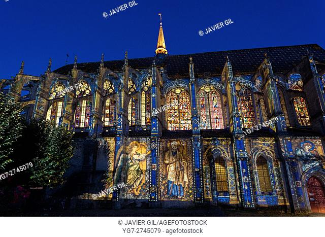Saint Pierre Peter Church illuminated, Chartres, Eure et Loir, France