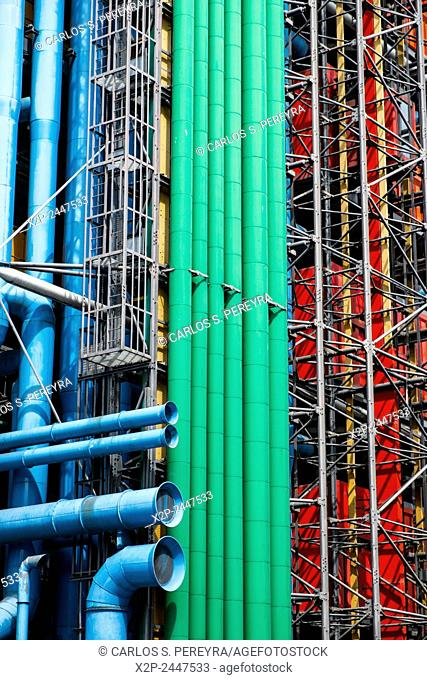 Wall of Centre Georges Pompidou. The Centre was built by GTM and completed in 1977 in Paris, France