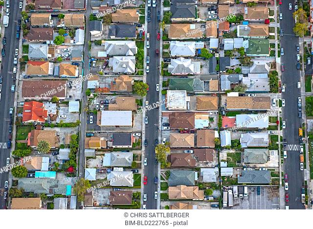 Aerial view of houses in suburban cityscape