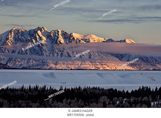 Teton Range at first light in the winter, Grand Teton National Park, Wyoming, United States of America, North America
