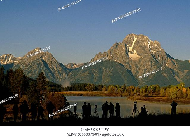 People photographing mountains Grand Teton National Park Wyoming USA