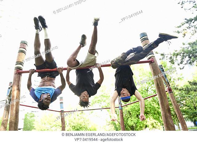 Young men doing acrobatics in park. Frankfurt am Main, Germany