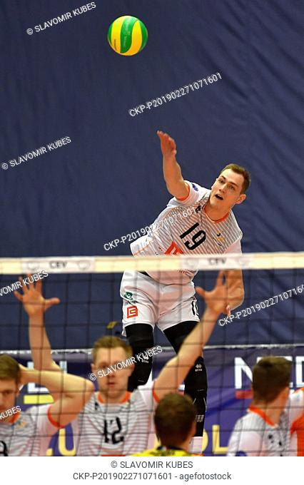 Marek Zmrhal (Karlovy Vary) in action during the 6th round group B of volleyball Champions League match Karlovarsko vs Modena in Karlovy Vary, Czech Republic