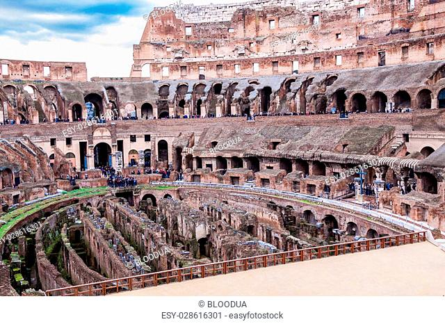 ROME -OCTOBER 21: Coliseum on October 21, 2014 in Rome, Italy. The Coliseum is one of Rome's most popular tourist attractions
