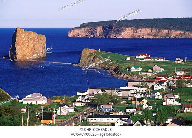 Perce Village from Mount-Sainte-Anne, Gaspe Peninsula, Quebec, Canada