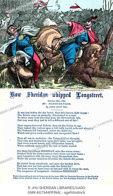 "Broadside from the American Civil War entitled """"How Sheridan Whipped Longstreet"""", glorifying General Philip Sheridan of the Union Army and his efforts against..."