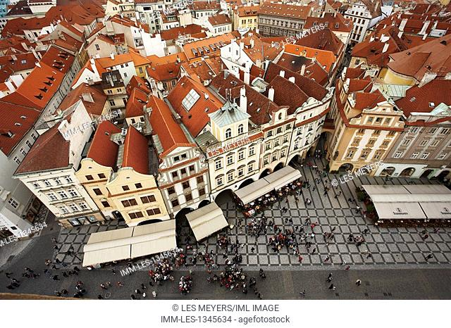 Aerial view Old Town Square. Prague, Czech Republic, Europe
