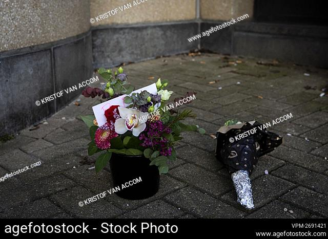 Illustration picture shows flowers in front of the hotel in the Meistraat, in the center of Antwerp, Sunday 11 April 2021