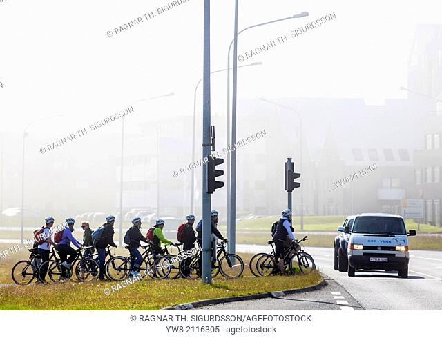 Bicycling Riding on a foggy day in Reykjavik, Iceland