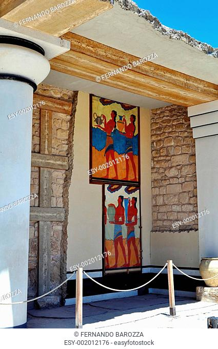 Ancient ruins and frescos at the Knossos Palace in Crete