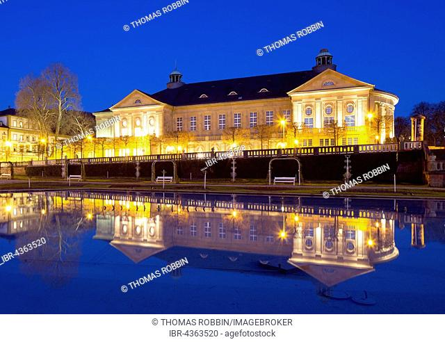 Kursaal building or Regentenbau at dusk, spa garden, Bad Kissingen District, Lower Franconia, Bavaria, Germany