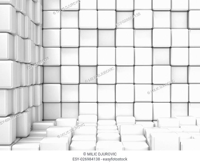White, cubic, corner space. Raster modern background. Can be used for graphic or website background