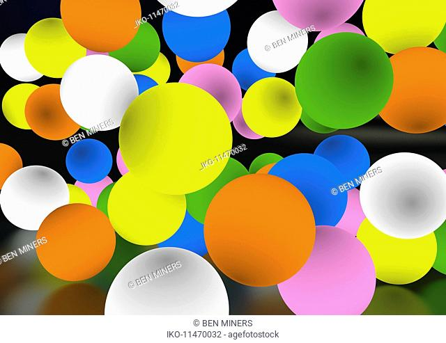 Glowing colorful balls floating