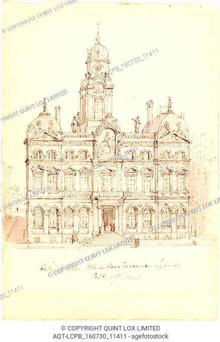 Robert Smirke, British (1752-1845), HÃ'tel de Ville, Place des Terreaux, Lyons, 1845, pen and brown ink with gray wash over graphite on wove paper