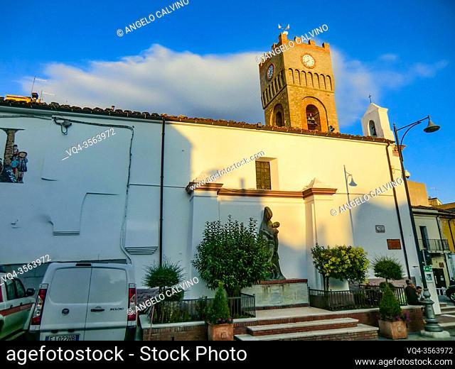 Chiesa di San Luigi Gonzaga con torre dell'orologio, San Luigi Gonzaga Church, Aliano village, Matera district, Basilicata, Italy, Europe