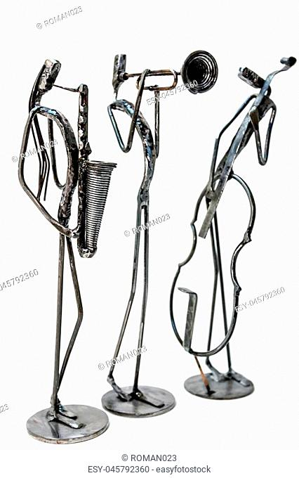 Figures of music performers made with welded black metal wire. Violoncellist, trumpeter and saxophonist are playing together. Living lines