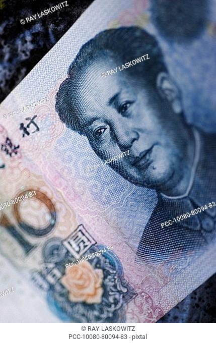 Close-up detail of Chinese currency