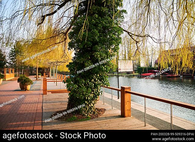 28 March 2020, Brandenburg, Lübben: There is a yawning emptiness on the terraces of the cafés and restaurants in Lübben. On a sunny spring Saturday like today...