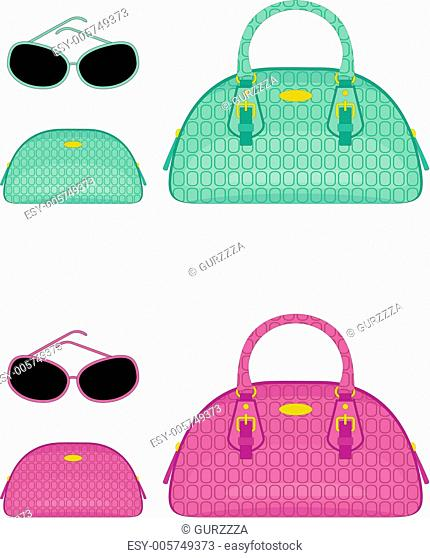 Female bags, beauticians and sun glasses