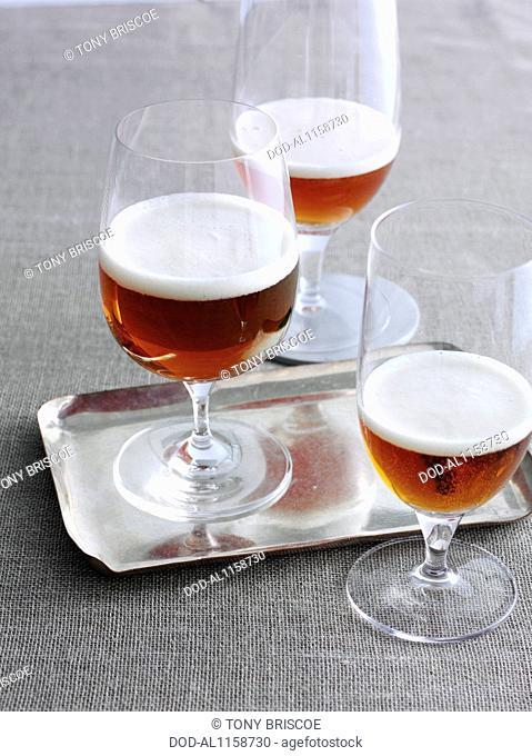 Three glasses of Imperial IPA beer