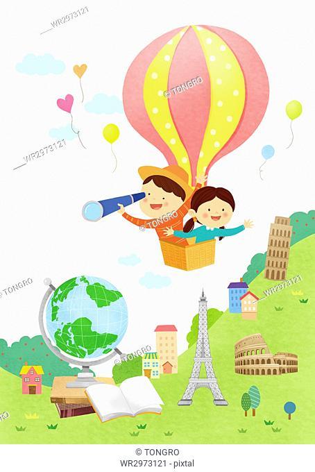 Smiling kids in an air-hot balloon watching global landmarks