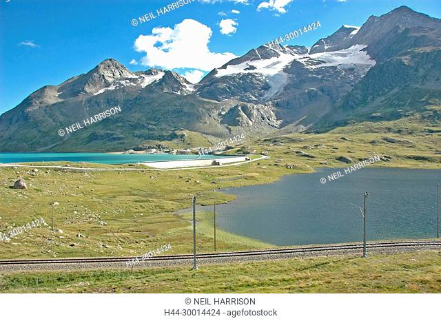 View from the Bernina Pass in southern Switzerland above St Moritz, with the railway lines of the Bernina Express which crosses the pass