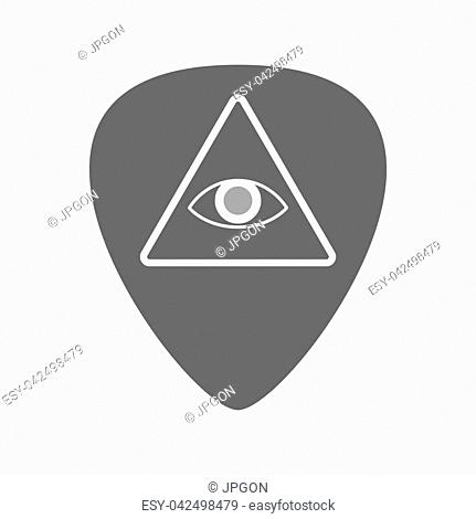 Illustration of an isolated guitar plectrum with an all seeing eye
