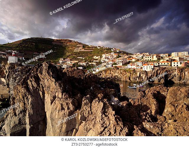 Portugal, Madeira, View of the Camara de Lobos.